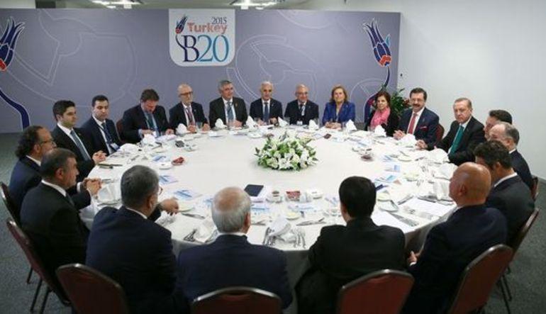 B-20 Türkiye İş Dünyası Liderleri Forumu'na katılan Cumhurbaşkanı Erdoğan, iş adamlarından alınan kararların desteklenmesini istedi